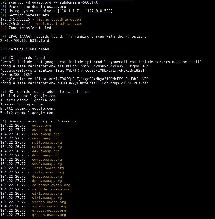 dnscan usage example, subdomain bruteforce
